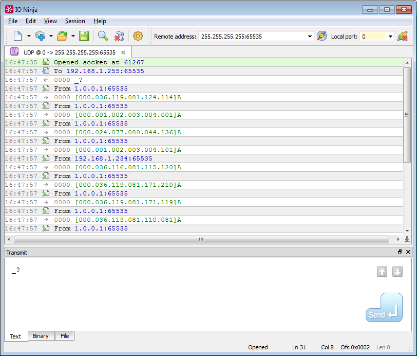 UDP Terminal | UDP Server Terminal - IO Ninja